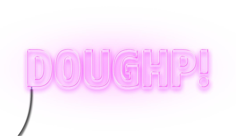 Doughp! Logo Design In Neon