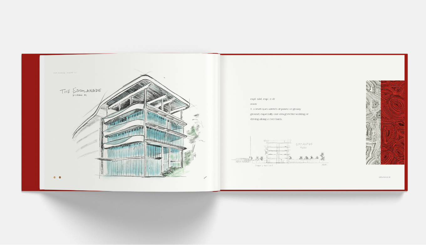 Internal View Of Custom Architectural Illustration & Sketches For Esplanade Pitch Book