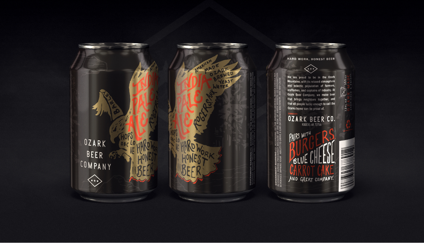 Ozark Beer Company India Pale Ale Full Can Design With Custom Eagle Illustrations And Creative Hand Lettering