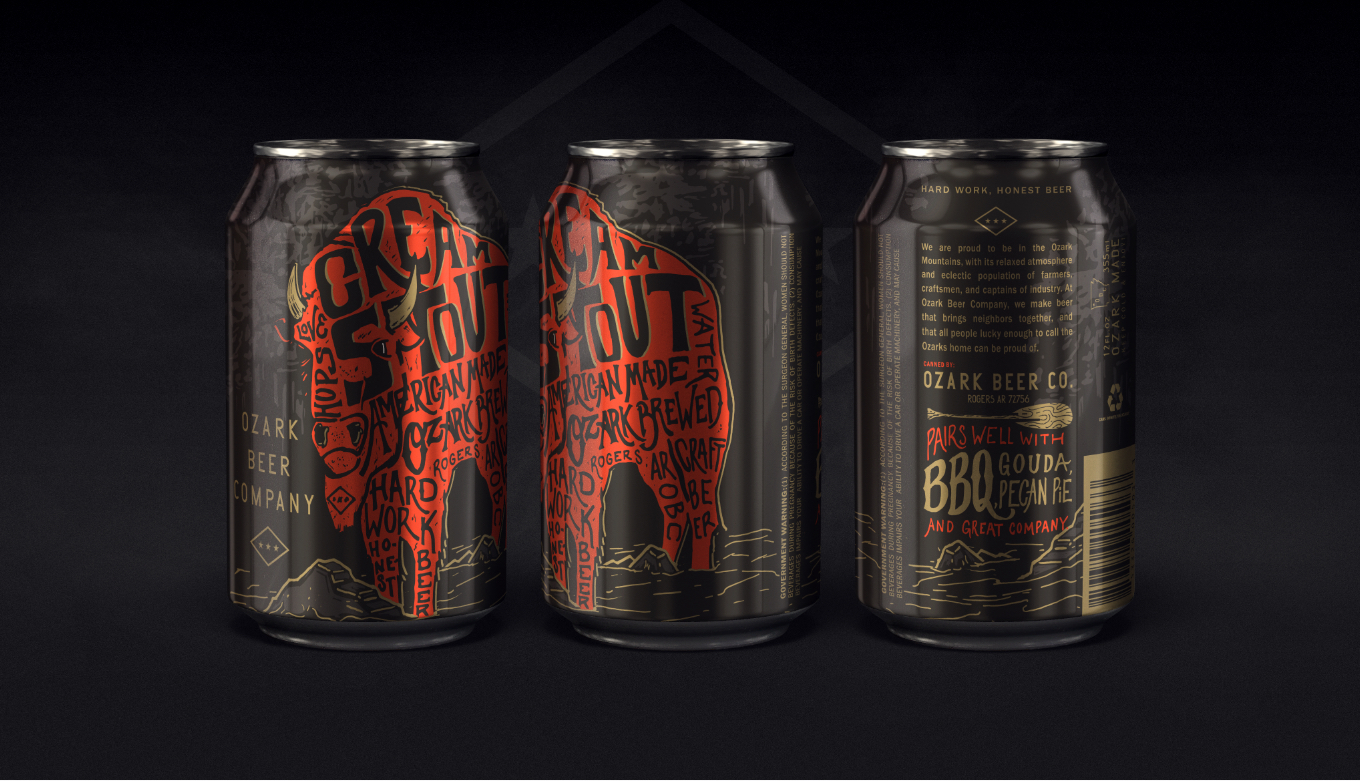 Full Cream Stout Beer Can Packaging Design And Illustration For Beer Company
