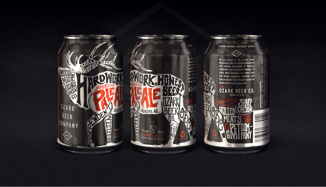 Ozark Beer Company Full Beer Can Packaging Design And Illustration