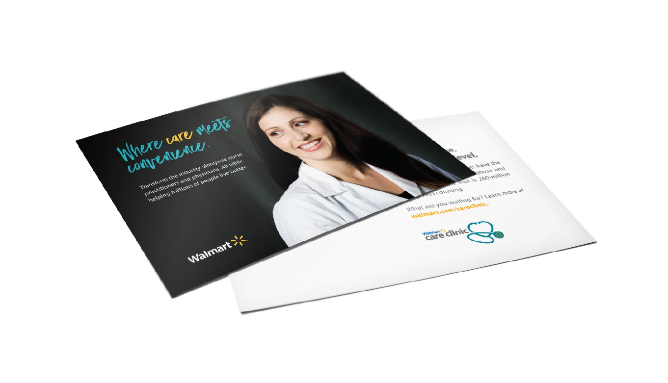 Health And Wellness Collateral For Walmart Care Clinic By Advertising And Design Agency BLKBOX